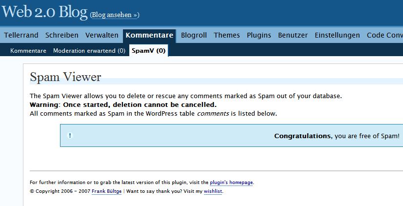 Ergebnis SpamViewer nach dem Löschen