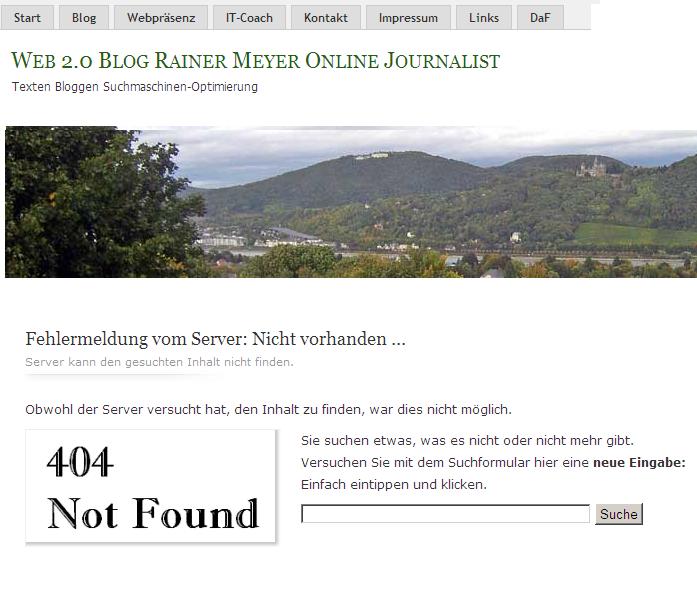 Error 404 optimal nutzen