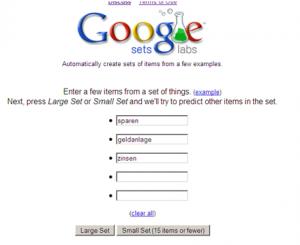 keywords mit googe-sets