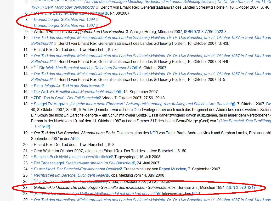 Wikipedia Fußnoten zu Uwe Barschel