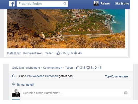 Vor und nach dem Liken Facebook