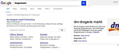 Platz 1 bei Google für Drogeriemarkt